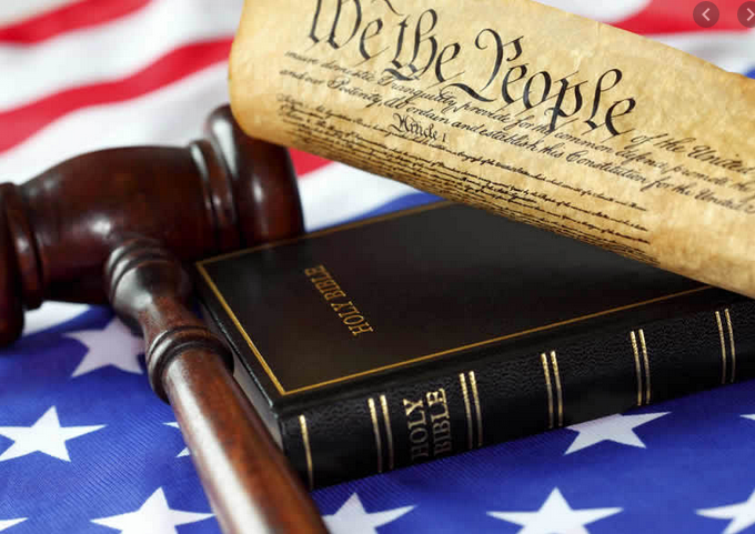 Constitution, Bible, Gavel and Flag