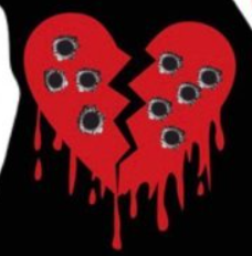 Heart Filled with bullet holes